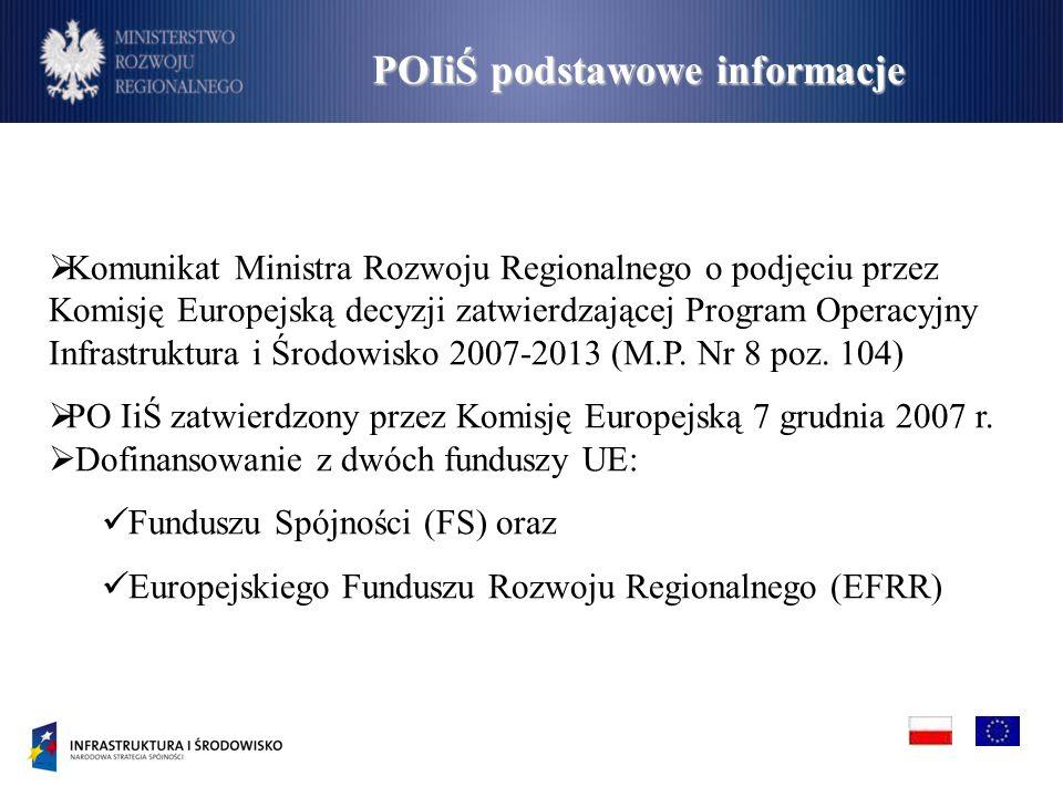 Komunikat Ministra Rozwoju Regionalnego o podjęciu przez Komisję Europejską decyzji zatwierdzającej Program Operacyjny Infrastruktura i Środowisko 2007-2013 (M.P.