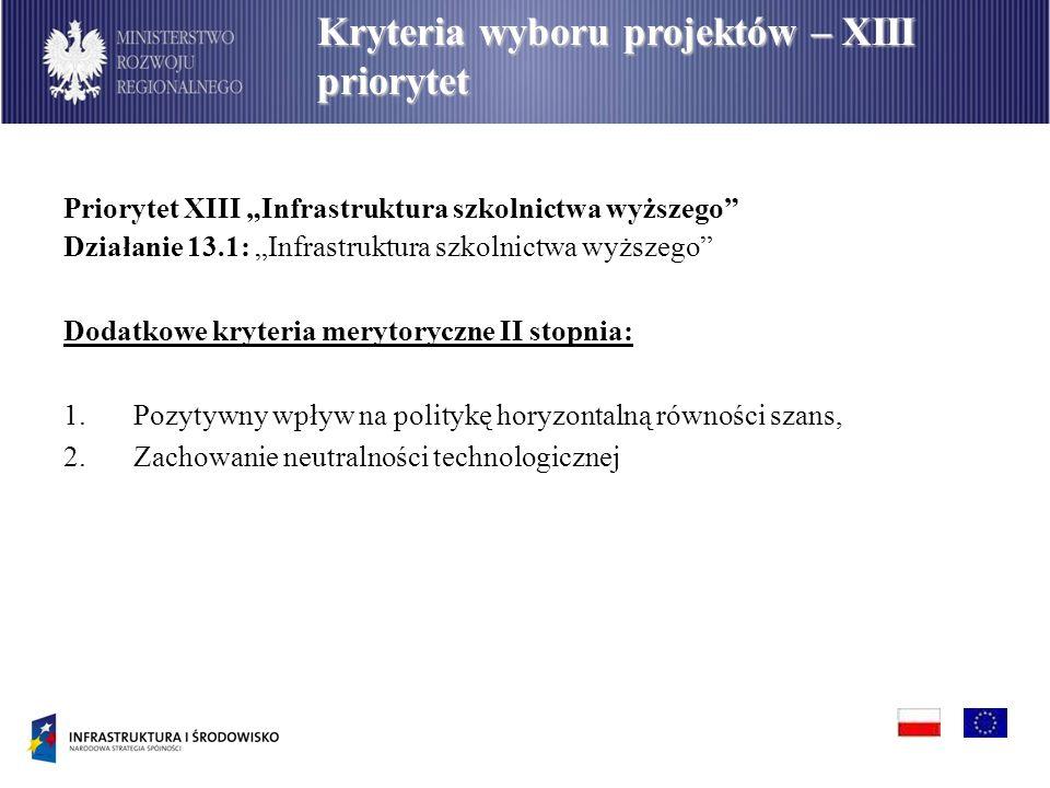 Priorytet XIII Infrastruktura szkolnictwa wyższego Działanie 13.1: Infrastruktura szkolnictwa wyższego Dodatkowe kryteria merytoryczne II stopnia: 1.P