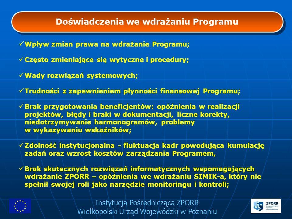 Instytucja Pośrednicząca ZPORR Wielkopolski Urząd Wojewódzki w Poznaniu Doświadczenia we wdrażaniu Programu Wpływ zmian prawa na wdrażanie Programu; C