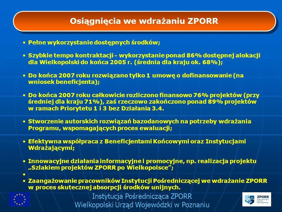Instytucja Pośrednicząca ZPORR Wielkopolski Urząd Wojewódzki w Poznaniu Osiągnięcia we wdrażaniu ZPORR Pełne wykorzystanie dostępnych środków; Szybkie