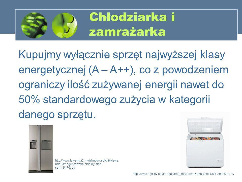Chłodziarka i zamrażarka Kupujmy wyłącznie sprzęt najwyższej klasy energetycznej (A – A++), co z powodzeniem ograniczy ilość zużywanej energii nawet d
