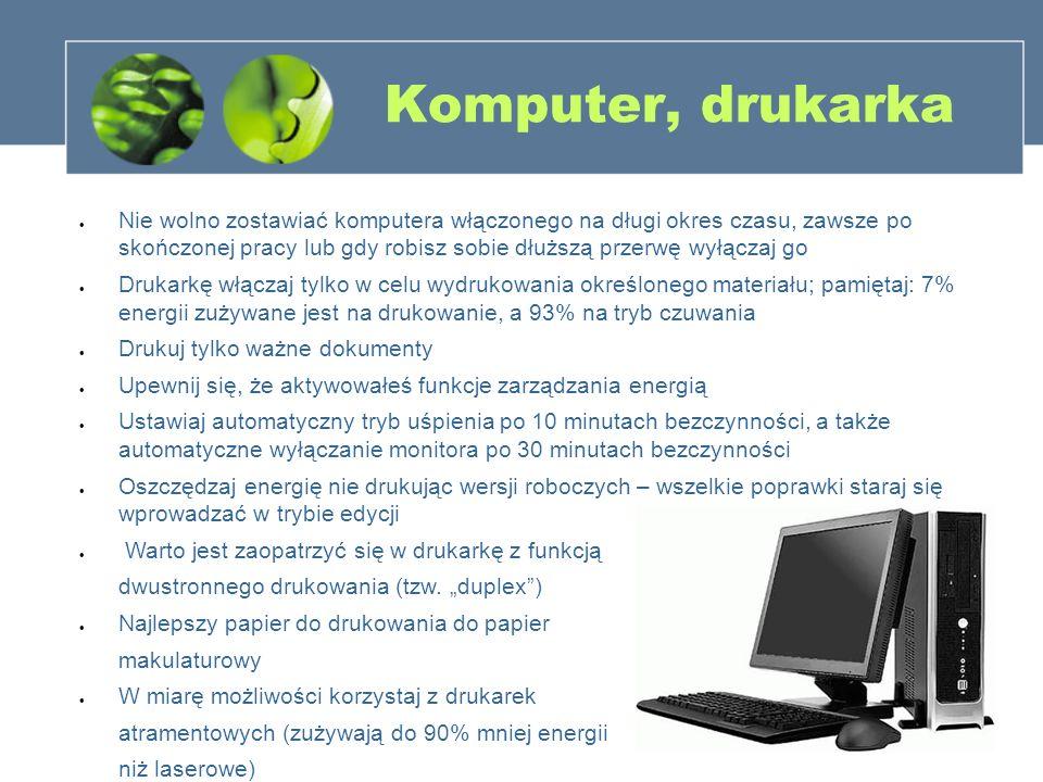 Komputer, drukarka Nie wolno zostawiać komputera włączonego na długi okres czasu, zawsze po skończonej pracy lub gdy robisz sobie dłuższą przerwę wyłą
