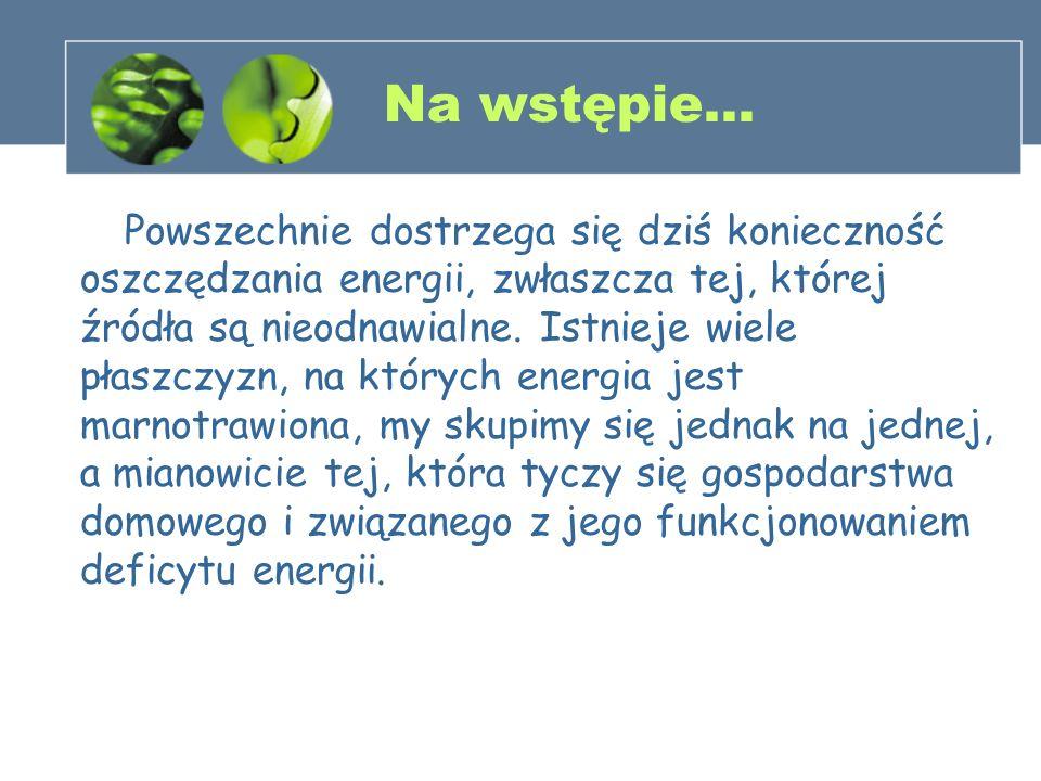 Na wstępie… Powszechnie dostrzega się dziś konieczność oszczędzania energii, zwłaszcza tej, której źródła są nieodnawialne. Istnieje wiele płaszczyzn,