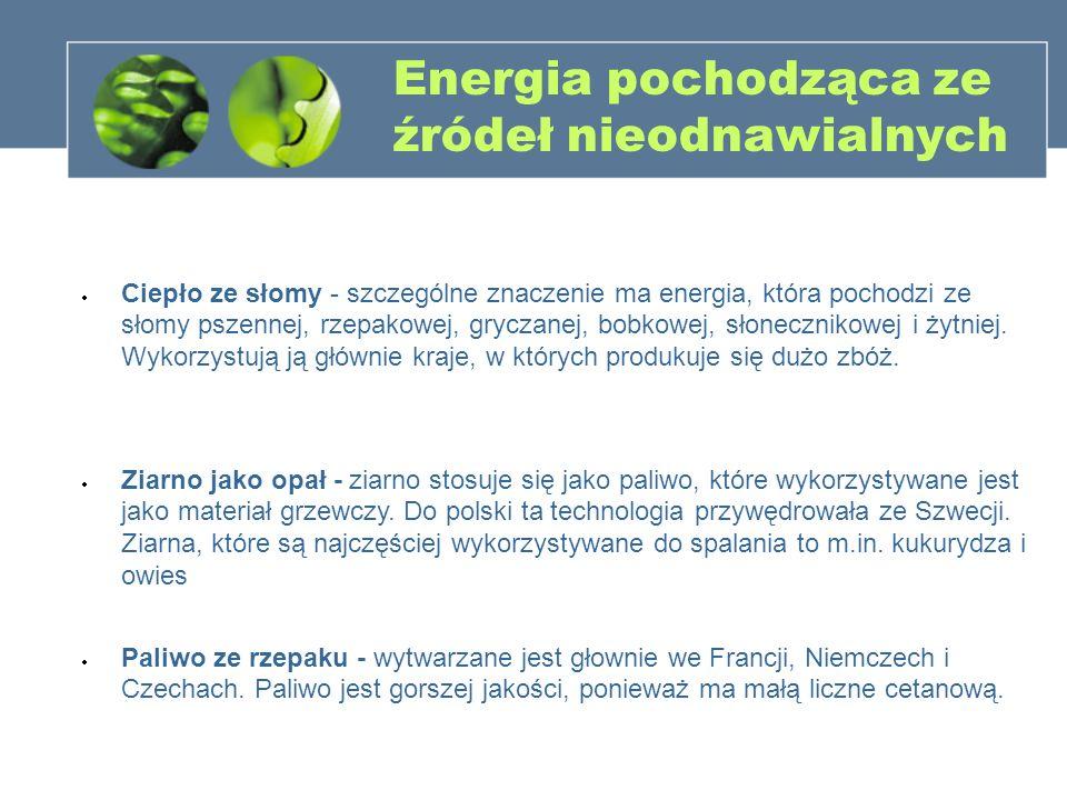 Energia pochodząca ze źródeł nieodnawialnych Ciepło ze słomy - szczególne znaczenie ma energia, która pochodzi ze słomy pszennej, rzepakowej, gryczane