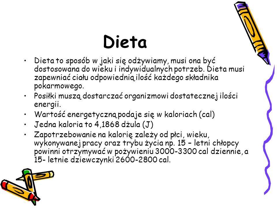 Dieta Dieta to sposób w jaki się odżywiamy, musi ona być dostosowana do wieku i indywidualnych potrzeb. Dieta musi zapewniać ciału odpowiednią ilość k