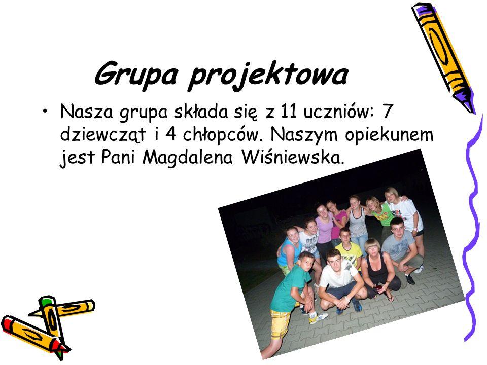Grupa projektowa Nasza grupa składa się z 11 uczniów: 7 dziewcząt i 4 chłopców. Naszym opiekunem jest Pani Magdalena Wiśniewska.