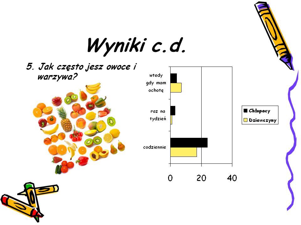 Wyniki c.d. 5. Jak często jesz owoce i warzywa?