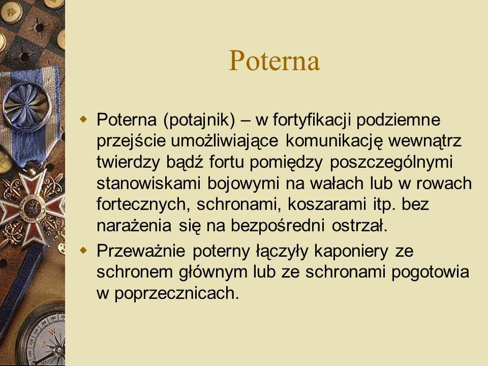Poterna Poterna (potajnik) – w fortyfikacji podziemne przejście umożliwiające komunikację wewnątrz twierdzy bądź fortu pomiędzy poszczególnymi stanowi