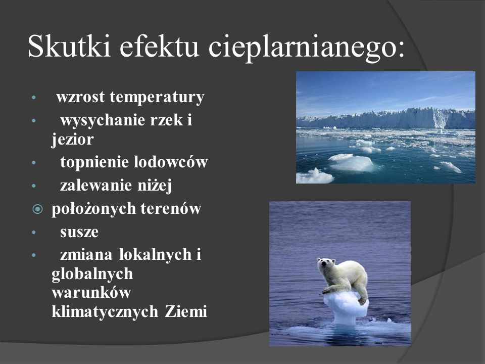 Skutki efektu cieplarnianego: wzrost temperatury wysychanie rzek i jezior topnienie lodowców zalewanie niżej położonych terenów susze zmiana lokalnych i globalnych warunków klimatycznych Ziemi
