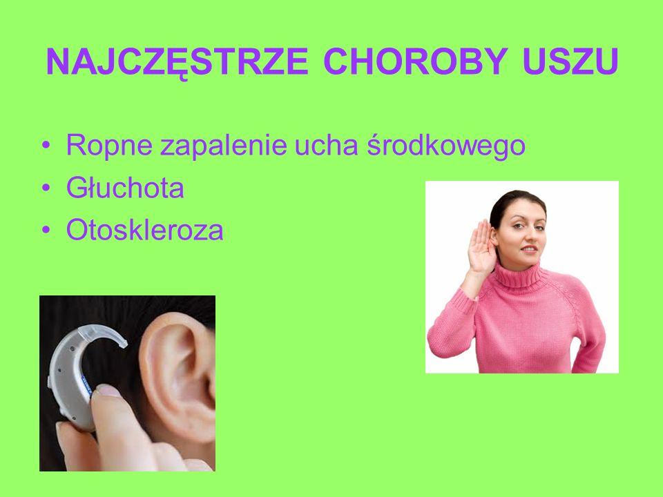 NAJCZĘSTRZE CHOROBY USZU Ropne zapalenie ucha środkowego Głuchota Otoskleroza
