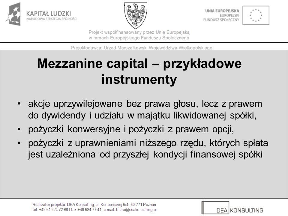 Mezzanine capital – przykładowe instrumenty akcje uprzywilejowane bez prawa głosu, lecz z prawem do dywidendy i udziału w majątku likwidowanej spółki, pożyczki konwersyjne i pożyczki z prawem opcji, pożyczki z uprawnieniami niższego rzędu, których spłata jest uzależniona od przyszłej kondycji finansowej spółki