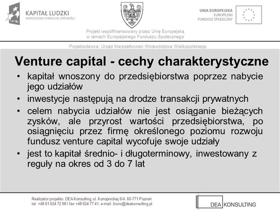 Organizacja funduszy Venture Capital banki, ubezpieczyciele, prywatni inwestorzy, duże korporacje, instytucje naukowe oraz instytucje rządowe Dawcy kapitału Fundusz VC Spółka menedżerska Spółki portfelowe budowa portfela spółek zależnych, kontrola przebiegu inwestycji w trakcie ich realizacji