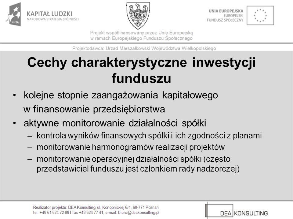 Korzyści z inwestycji funduszu kapitał doświadczenie w realizacji projektów inwestycyjnych, prowadzeniu biznesu kontakty w otoczeniu biznesu (firmy konsultingowe, kancelarie prawne, instytucje finansowe) zwiększenie wiarygodności