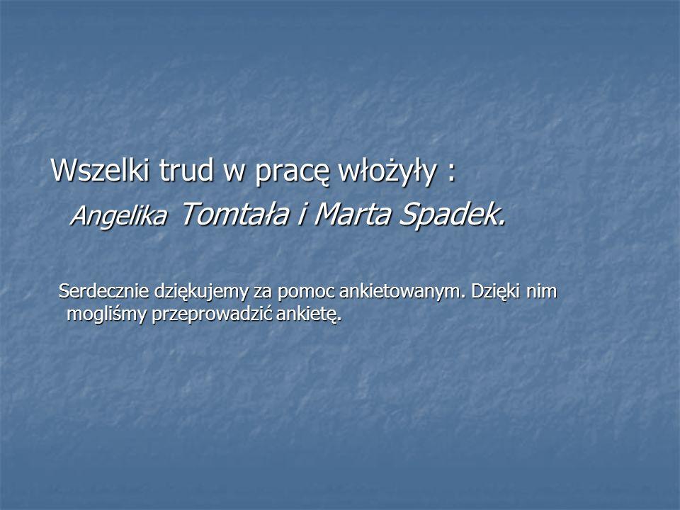 Wszelki trud w pracę włożyły : Wszelki trud w pracę włożyły : Angelika Tomtała i Marta Spadek. Angelika Tomtała i Marta Spadek. Serdecznie dziękujemy
