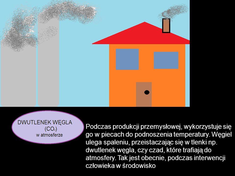 Podczas produkcji przemysłowej, wykorzystuje się go w piecach do podnoszenia temperatury. Węgiel ulega spaleniu, przeistaczając się w tlenki np. dwutl