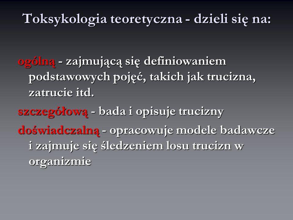 Toksykologia stosowana- praktyczna obejmuje: toksykologię kliniczną - dyscyplina medyczna diagnozująca i lecząca zatrucia toksykologię kliniczną - dyscyplina medyczna diagnozująca i lecząca zatrucia sądowo-lekarską - czyli ekspertyza i opiniowane sądowo-lekarską - czyli ekspertyza i opiniowane