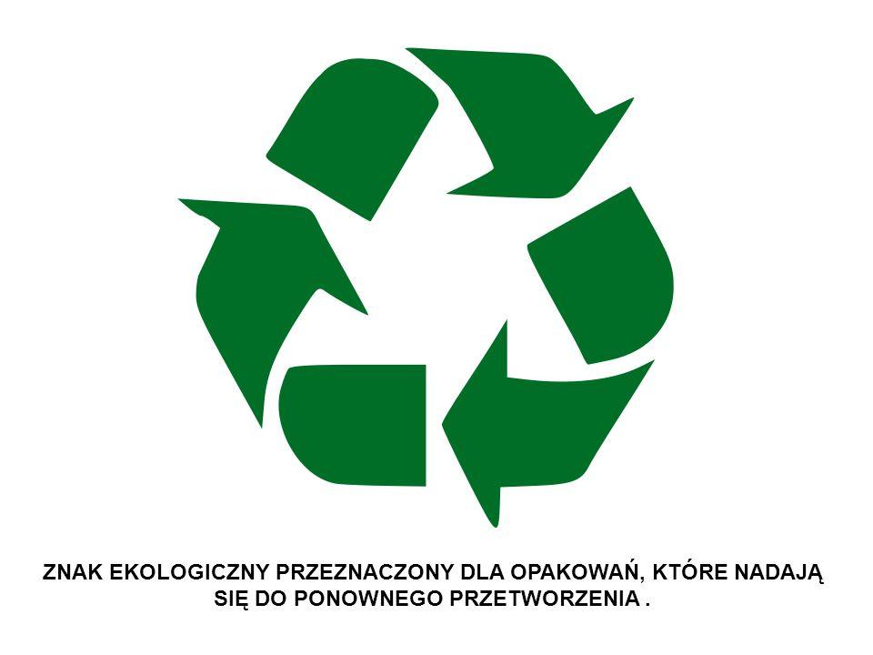 Poli (tereftalan etylenu) Polietylen wysokiej gęstości Polietylen niskiej gęstości Papier AluminiumBezbarwne szkłoZielone szkłoBrązowe szkło W celu uproszczenia recyklingu wprowadzone są specjalne kody oznaczenia różnych materiałów.
