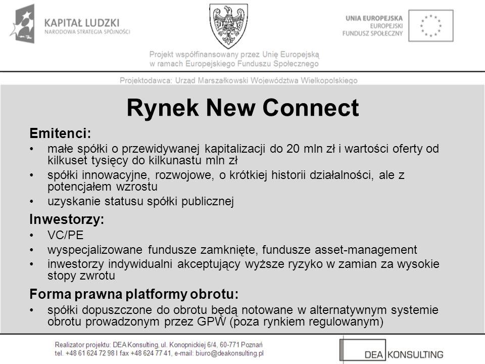 Rynek New Connect Emitenci: małe spółki o przewidywanej kapitalizacji do 20 mln zł i wartości oferty od kilkuset tysięcy do kilkunastu mln zł spółki i
