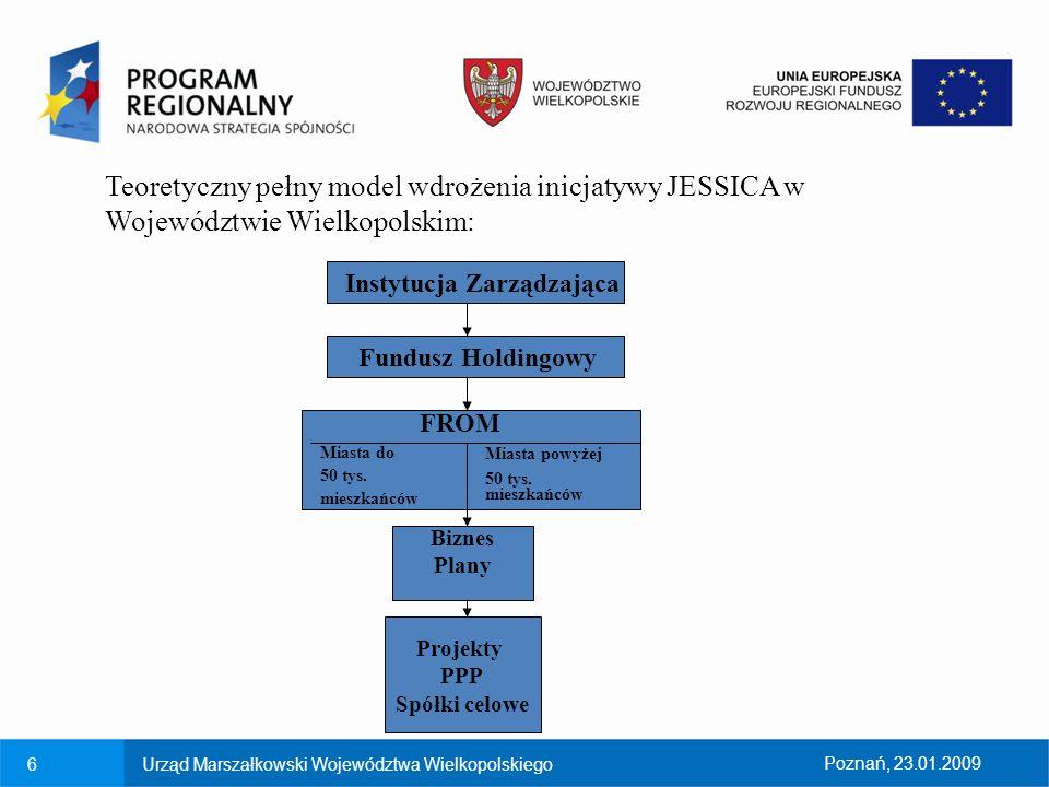 7Urząd Marszałkowski Województwa WielkopolskiegoPoznań, 23.01.2009 Fundusz Holdingowy : Celem Funduszu Holdingowego jest inwestowanie w Fundusze Rozwoju Obszarów Miejskich Zorganizowanie Funduszu Holdingowego jest prawem krajów członkowskich, a nie rozwiązaniem koniecznym, posiada jednak niewątpliwe zalety: - przejęcie znacznej części prac administracyjnych od IZ; - doradztwo przy wyborze właściwych FROM ; - znaczne przyspieszenie absorpcji funduszy strukturalnych, gdyż wkład do HF stanowi wydatek kwalifikowany (art.