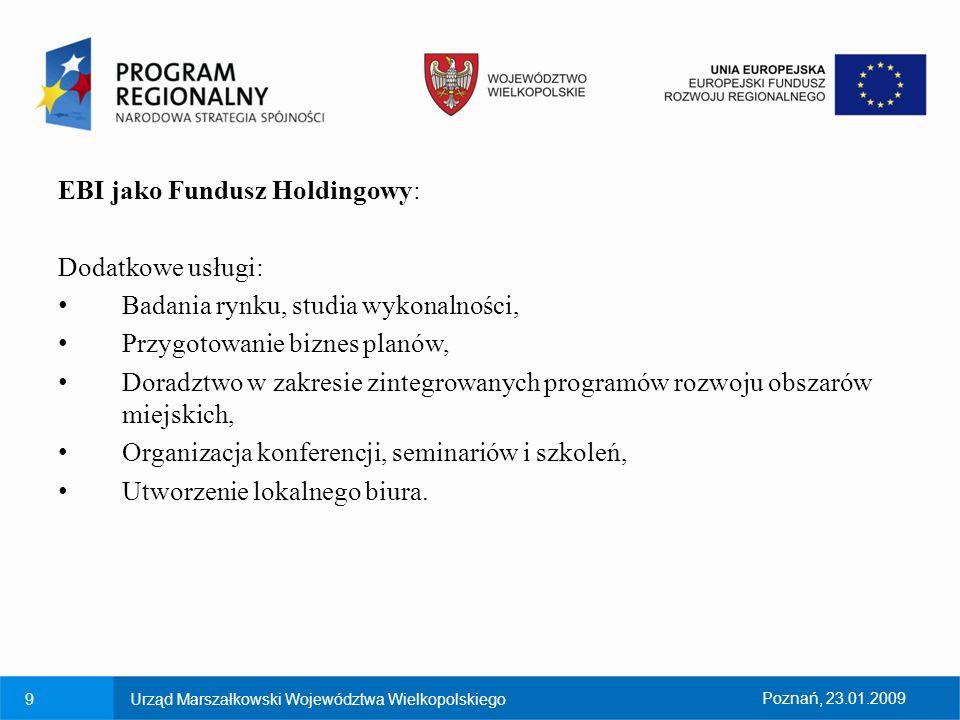 9Urząd Marszałkowski Województwa WielkopolskiegoPoznań, 23.01.2009 EBI jako Fundusz Holdingowy: Dodatkowe usługi: Badania rynku, studia wykonalności,