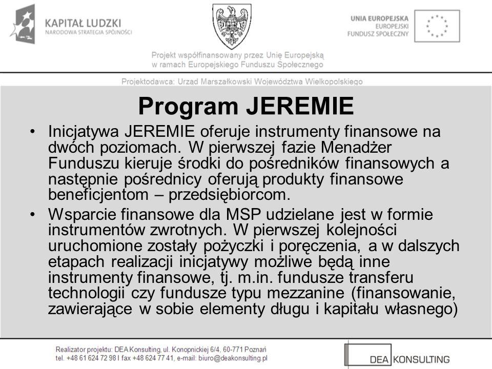 Program JEREMIE Inicjatywa JEREMIE oferuje instrumenty finansowe na dwóch poziomach.
