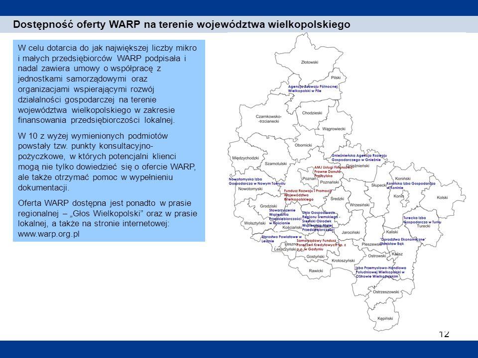 12 1. Einleitung Dostępność oferty WARP na terenie województwa wielkopolskiego W celu dotarcia do jak największej liczby mikro i małych przedsiębiorcó