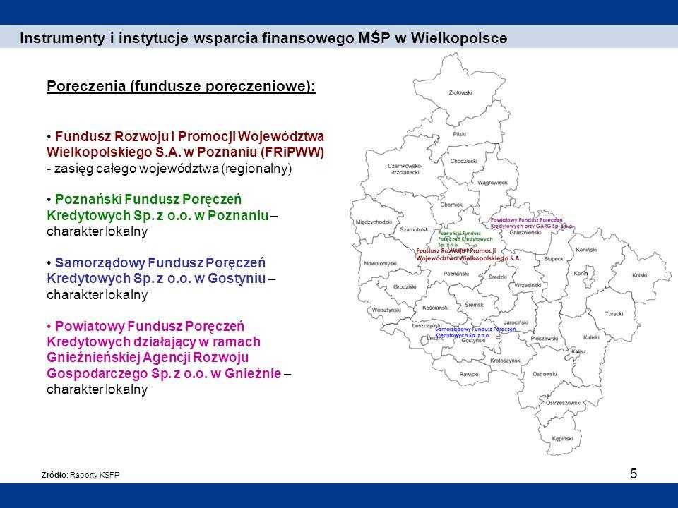 5 Poręczenia (fundusze poręczeniowe): Fundusz Rozwoju i Promocji Województwa Wielkopolskiego S.A. w Poznaniu (FRiPWW) - zasięg całego województwa (reg