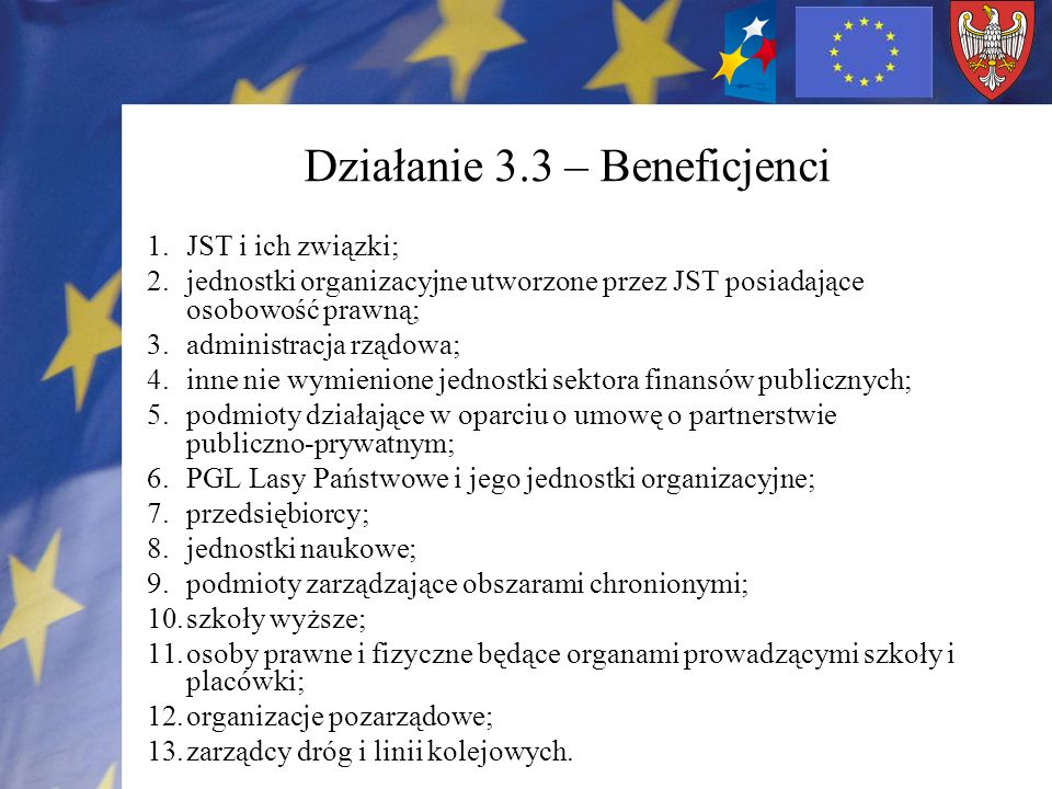 Działanie 3.3 – Beneficjenci 1.JST i ich związki; 2.jednostki organizacyjne utworzone przez JST posiadające osobowość prawną; 3.administracja rządowa; 4.inne nie wymienione jednostki sektora finansów publicznych; 5.podmioty działające w oparciu o umowę o partnerstwie publiczno-prywatnym; 6.PGL Lasy Państwowe i jego jednostki organizacyjne; 7.przedsiębiorcy; 8.jednostki naukowe; 9.podmioty zarządzające obszarami chronionymi; 10.szkoły wyższe; 11.osoby prawne i fizyczne będące organami prowadzącymi szkoły i placówki; 12.organizacje pozarządowe; 13.zarządcy dróg i linii kolejowych.