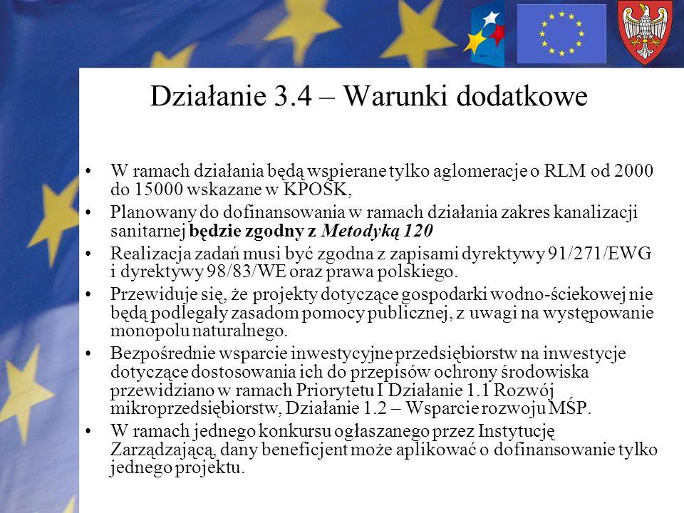 Działanie 3.4 – Warunki dodatkowe W ramach działania będą wspierane tylko aglomeracje o RLM od 2000 do 15000 wskazane w KPOŚK, Planowany do dofinansowania w ramach działania zakres kanalizacji sanitarnej będzie zgodny z Metodyką 120 Realizacja zadań musi być zgodna z zapisami dyrektywy 91/271/EWG i dyrektywy 98/83/WE oraz prawa polskiego.