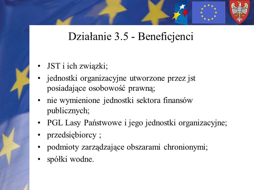 Działanie 3.5 - Beneficjenci JST i ich związki; jednostki organizacyjne utworzone przez jst posiadające osobowość prawną; nie wymienione jednostki sektora finansów publicznych; PGL Lasy Państwowe i jego jednostki organizacyjne; przedsiębiorcy ; podmioty zarządzające obszarami chronionymi; spółki wodne.