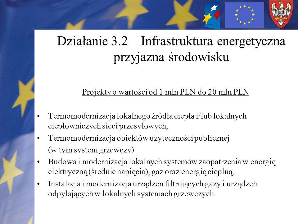 Działanie 3.2 – Infrastruktura energetyczna przyjazna środowisku Projekty o wartości od 1 mln PLN do 20 mln PLN Termomodernizacja lokalnego źródła ciepła i/lub lokalnych ciepłowniczych sieci przesyłowych, Termomodernizacja obiektów użyteczności publicznej (w tym system grzewczy) Budowa i modernizacja lokalnych systemów zaopatrzenia w energię elektryczną (średnie napięcia), gaz oraz energię cieplną, Instalacja i modernizacja urządzeń filtrujących gazy i urządzeń odpylających w lokalnych systemach grzewczych
