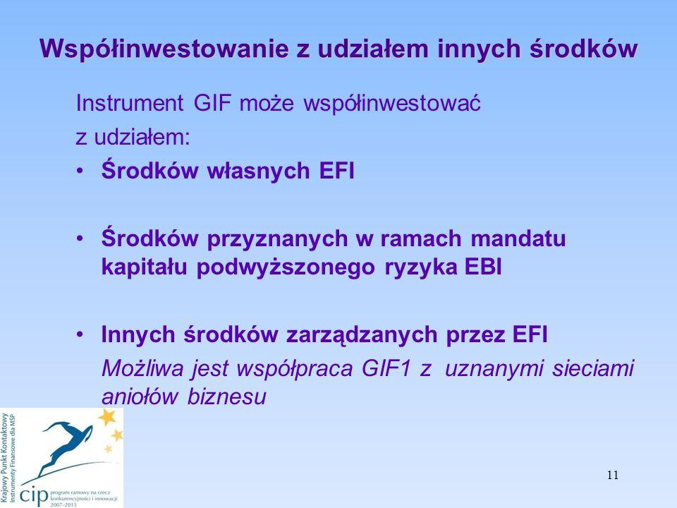Współinwestowanie z udziałem innych środków Instrument GIF może współinwestować z udziałem: Środków własnych EFI Środków przyznanych w ramach mandatu kapitału podwyższonego ryzyka EBI Innych środków zarządzanych przez EFI Możliwa jest współpraca GIF1 z uznanymi sieciami aniołów biznesu 11