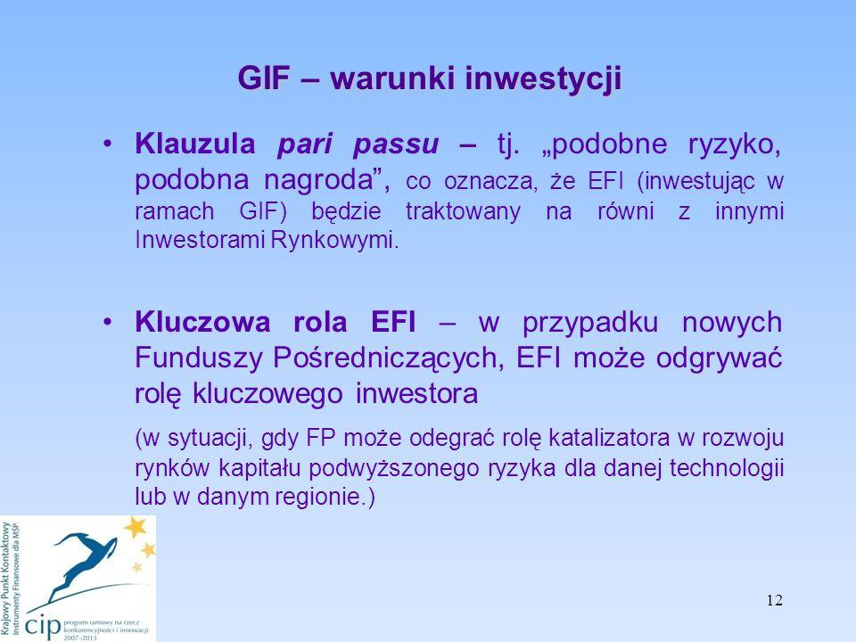 GIF – warunki inwestycji Klauzula pari passu – tj.