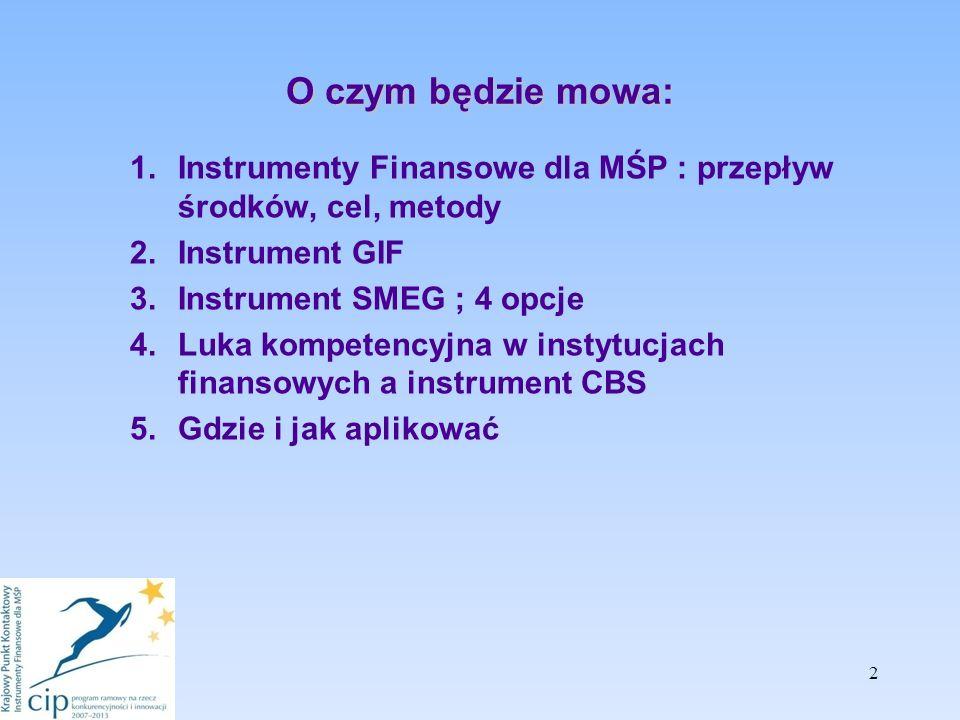 O czym będzie mowa: 1.Instrumenty Finansowe dla MŚP : przepływ środków, cel, metody 2.Instrument GIF 3.Instrument SMEG ; 4 opcje 4.Luka kompetencyjna w instytucjach finansowych a instrument CBS 5.Gdzie i jak aplikować 2