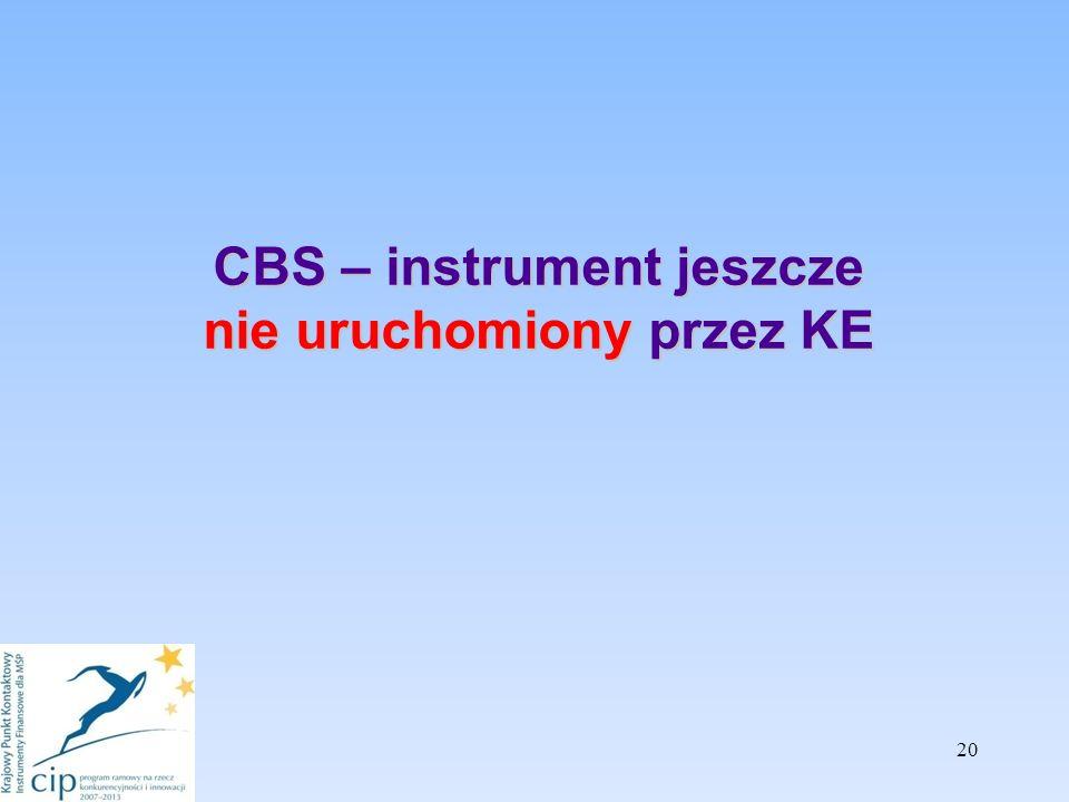 CBS – instrument jeszcze nie uruchomiony przez KE 20
