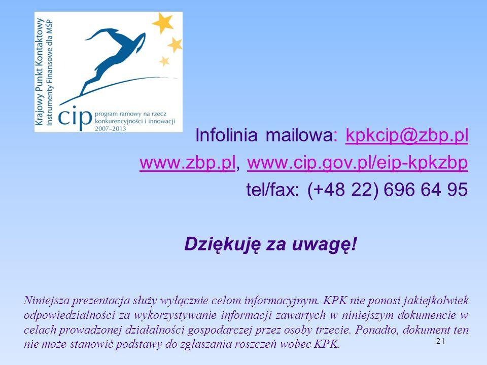 21 Infolinia mailowa: kpkcip@zbp.plkpkcip@zbp.pl www.zbp.plwww.zbp.pl, www.cip.gov.pl/eip-kpkzbpwww.cip.gov.pl/eip-kpkzbp tel/fax: (+48 22) 696 64 95 Dziękuję za uwagę.
