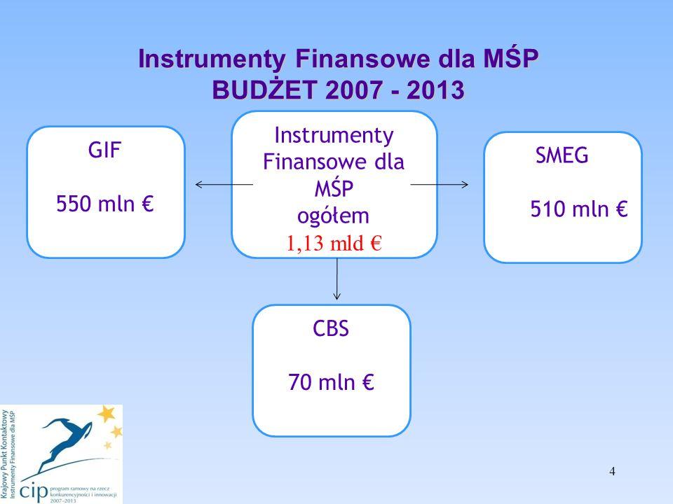 Instrumenty Finansowe dla MŚP BUDŻET 2007 - 2013 4 Instrumenty Finansowe dla MŚP ogółem 1,13 mld GIF 550 mln SMEG 510 mln CBS 70 mln