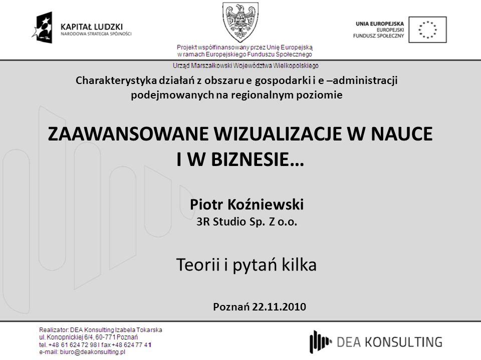 ZAAWANSOWANE WIZUALIZACJE W NAUCE I W BIZNESIE… Piotr Koźniewski 3R Studio Sp.