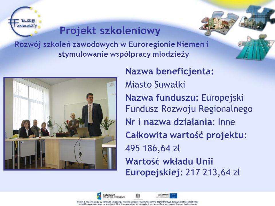 Projekt szkoleniowy Rozwój szkoleń zawodowych w Euroregionie Niemen i stymulowanie współpracy młodzieży Nazwa beneficjenta: Miasto Suwałki Nazwa fundu