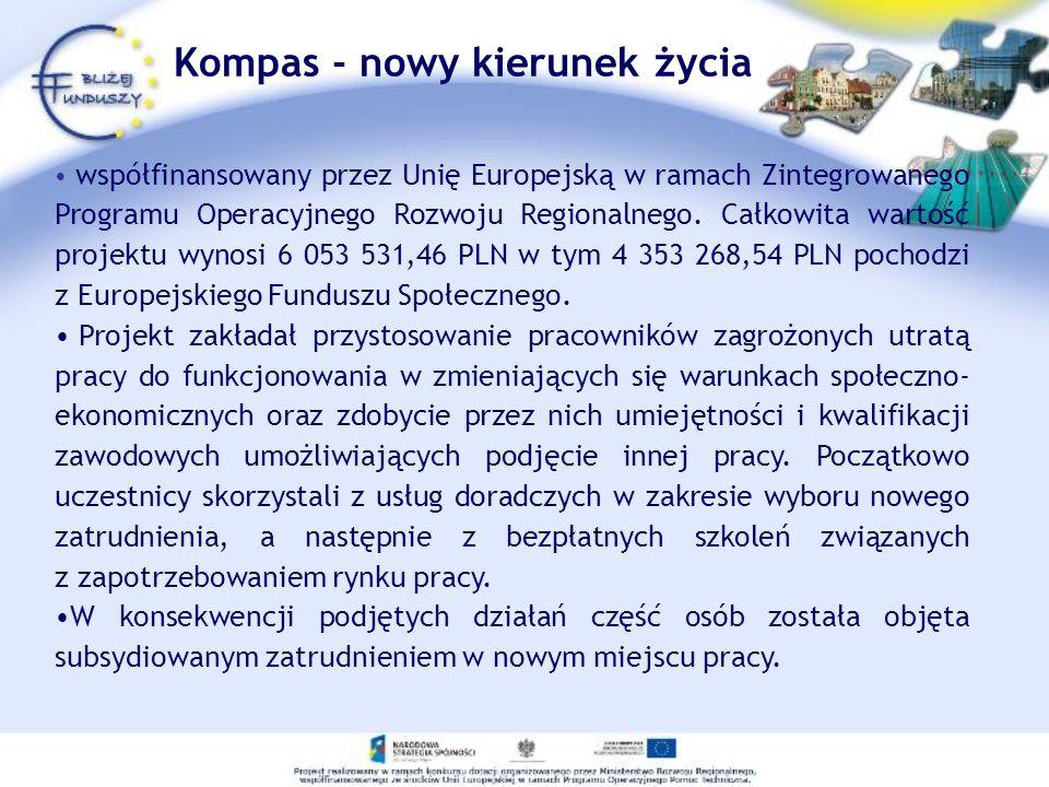 Kompas - nowy kierunek życia współfinansowany przez Unię Europejską w ramach Zintegrowanego Programu Operacyjnego Rozwoju Regionalnego.