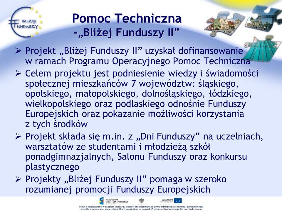 Pomoc Techniczna -Bliżej Funduszy II Projekt Bliżej Funduszy II uzyskał dofinansowanie w ramach Programu Operacyjnego Pomoc Techniczna Celem projektu jest podniesienie wiedzy i świadomości społecznej mieszkańców 7 województw: śląskiego, opolskiego, małopolskiego, dolnośląskiego, łódzkiego, wielkopolskiego oraz podlaskiego odnośnie Funduszy Europejskich oraz pokazanie możliwości korzystania z tych środków Projekt składa się m.in.