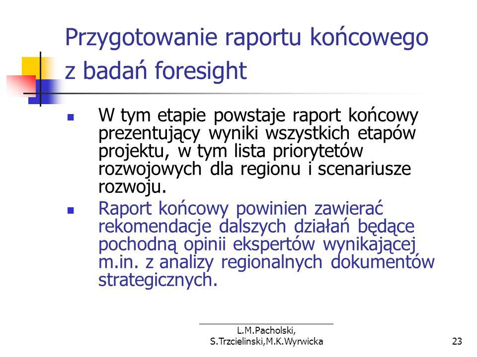 ___________________________ L.M.Pacholski, S.Trzcielinski,M.K.Wyrwicka23 Przygotowanie raportu końcowego z badań foresight W tym etapie powstaje rapor