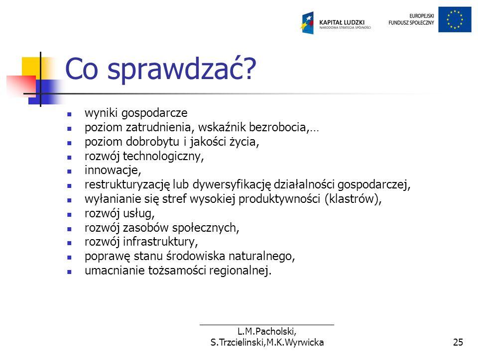 ___________________________ L.M.Pacholski, S.Trzcielinski,M.K.Wyrwicka25 Co sprawdzać? wyniki gospodarcze poziom zatrudnienia, wskaźnik bezrobocia,… p