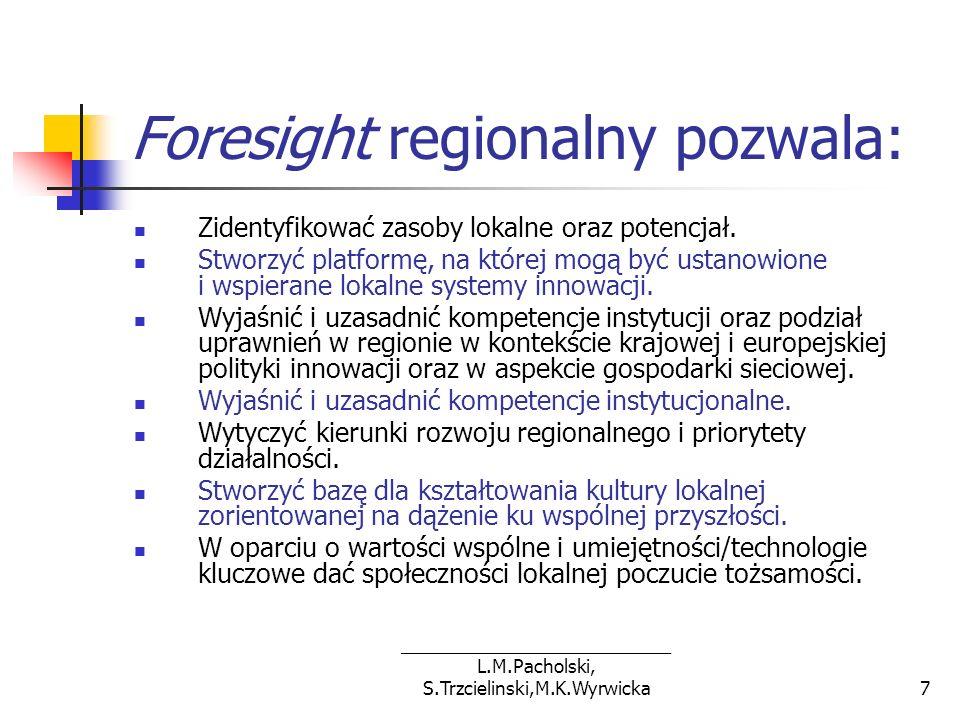 ___________________________ L.M.Pacholski, S.Trzcielinski,M.K.Wyrwicka8 Cele foresight regionalnego Celem bezpośrednim foresight regionalnego dla województwa wielkopolskiego jest dostarczenie nowej wiedzy na temat przyszłości poprzez opracowanie scenariuszy rozwoju oraz związane z tym uruchomienie procesów antycypowania przyszłości i wykorzystania tej wiedzy w Wielkopolsce.