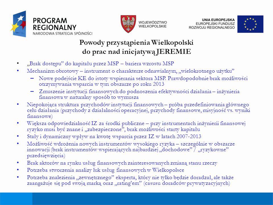 Powody przystąpienia Wielkopolski do prac nad inicjatywą JEREMIE Brak dostępu do kapitału przez MSP – bariera wzrostu MSP Mechanizm obrotowy – instrum