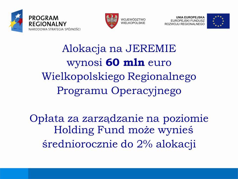 Alokacja na JEREMIE wynosi 60 mln euro Wielkopolskiego Regionalnego Programu Operacyjnego Opłata za zarządzanie na poziomie Holding Fund może wynieś ś