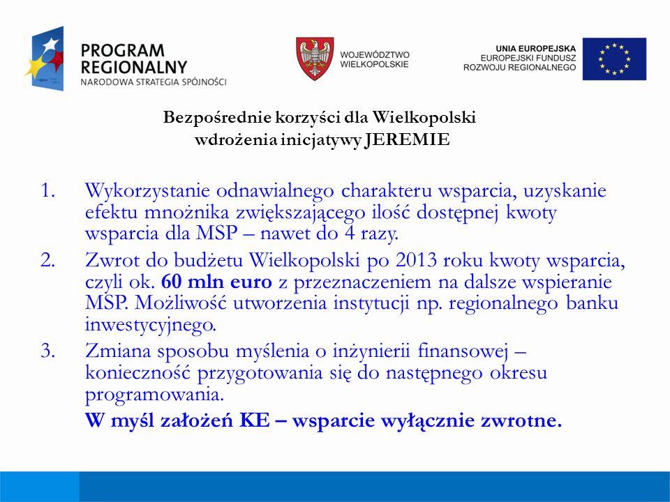 Bezpośrednie korzyści dla Wielkopolski wdrożenia inicjatywy JEREMIE 1.Wykorzystanie odnawialnego charakteru wsparcia, uzyskanie efektu mnożnika zwięks