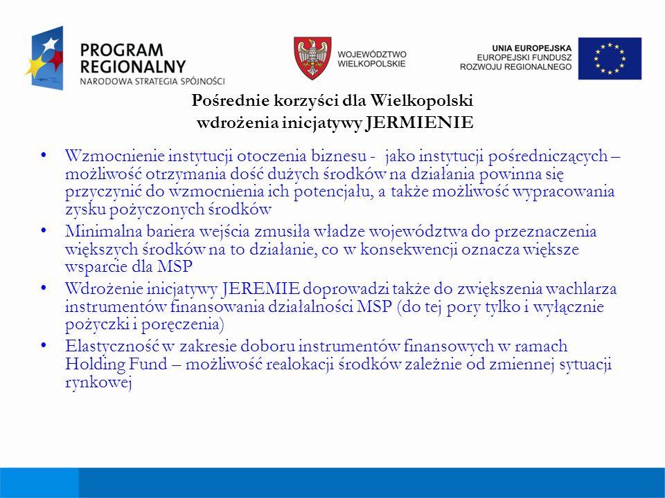 Pośrednie korzyści dla Wielkopolski wdrożenia inicjatywy JERMIENIE Wzmocnienie instytucji otoczenia biznesu - jako instytucji pośredniczących – możliw