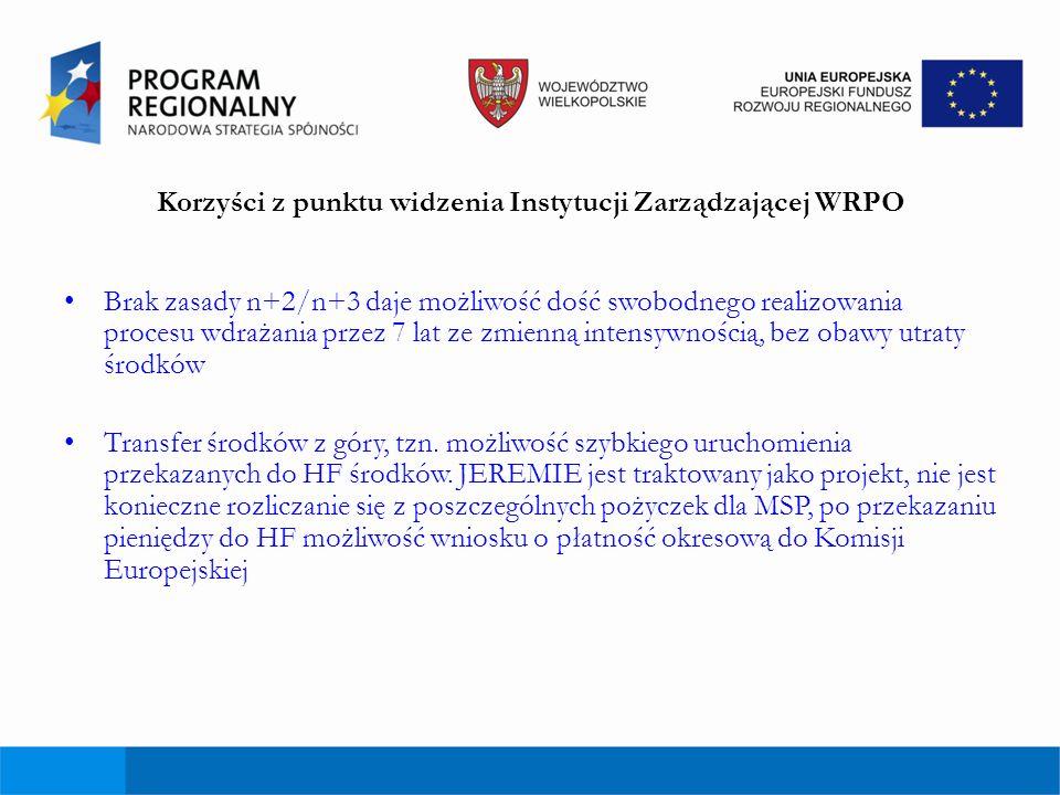 Korzyści z punktu widzenia Instytucji Zarządzającej WRPO Brak zasady n+2/n+3 daje możliwość dość swobodnego realizowania procesu wdrażania przez 7 lat