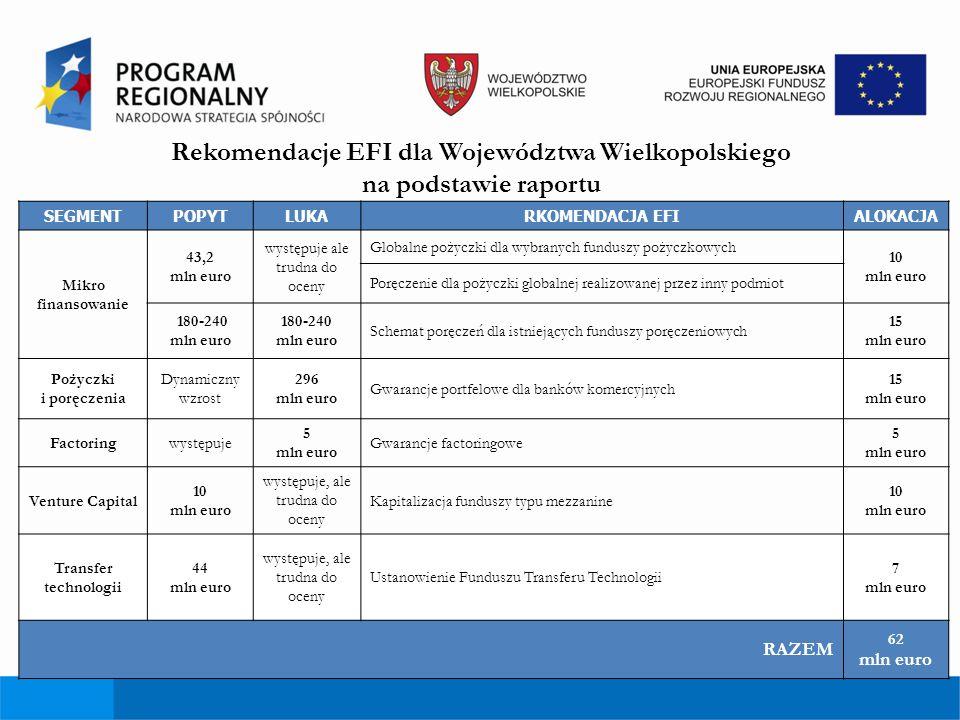 Rekomendacje EFI dla Województwa Wielkopolskiego na podstawie raportu SEGMENTPOPYTLUKARKOMENDACJA EFIALOKACJA Mikro finansowanie 43,2 mln euro występu